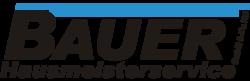 Logo Hausmeisterservice Bauer mit schwarzer Schrift auf grau weiss kariertem Hintergrund